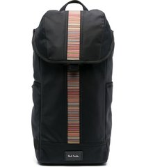 paul smith signature stripe one-shoulder backpack - black