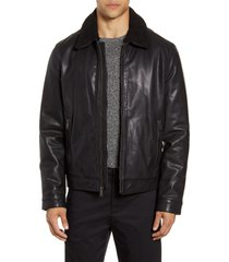 men's cole haan leather aviator jacket, size small - black