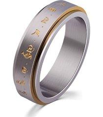 anello girevole da uomo in oro titanio con motivo buddista dorato