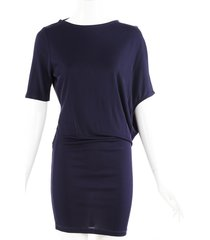 stella mccartney navy draped open back dress blue sz: xs