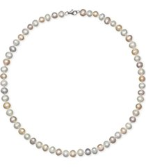 """18"""" cultured freshwater pearl strand necklace (7-8mm) in sterling silver"""