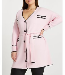 river island womens plus pink belted knit cardigan
