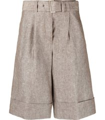 peserico belted tailored shorts - brown