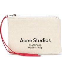acne studios logo print wallet - neutrals