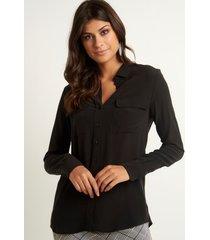 camisa le lis blanc lucia 5 black seda preto feminina (black, 50)