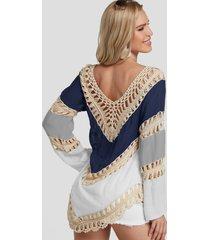 blusa de playa con adornos de encaje de crochet en bloque de color