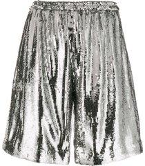 nº21 sequin-embellished shorts - silver