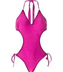 amir slama tie cut-out one-piece - pink