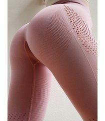 hollow diseño leggings súper elásticos de cintura alta