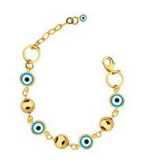 pulseira olho grego com bolas lisas e detalhe no extensor banhado a ouro 18k