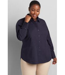 lane bryant women's button-down boyfriend shirt 26 night sky