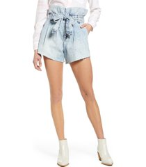 women's blanknyc belted paperbag waist cutoff denim shorts, size 24 - blue
