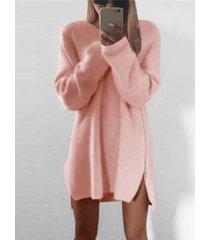 cremallera lateral rosa diseño dobladillo irregular suelto mini vestido
