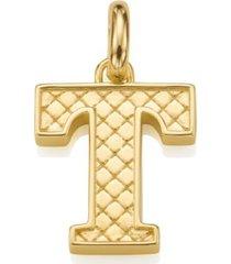 alphabet pendant t, gold vermeil on silver