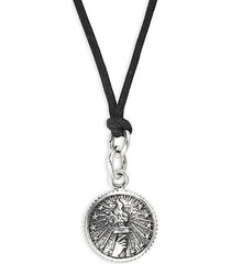 sterling silver & wax cord torch concho pendant necklace