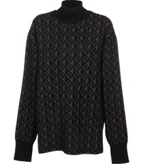 marine serre moon lozenge textured knit sweater