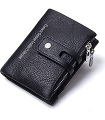 cartera billetera contact's doble zipper piel genuina