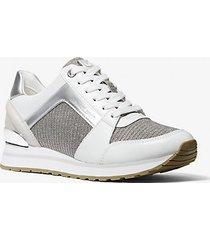 mk sneaker billie in pelle e mesh metallizzato con glitter - cachi (naturale) - michael kors