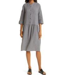 eileen fisher drop waist organic linen dress, size x-large in moon at nordstrom