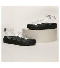 sandália feminina oneself flatform com tiras em vinil transparente