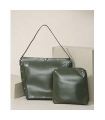 bolsa feminina habo grande com tachas + nécessaire verde militar