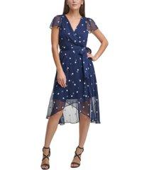 dkny flutter-sleeve midi dress