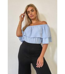 plus ruffle off the shoulder woven top, lilac
