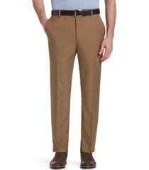 jos. a. bank men's traveler performance tailored fit flat front pants clearance, brown, 34x29