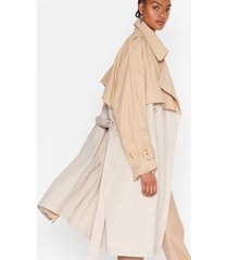 womens back to mac oversized belted trench coat - stone