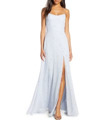 women's jenny yoo kiara floral print chiffon evening gown, size 10 - blue