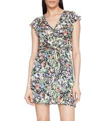 parker women's floral ruffle silk-blend dress - amber blooms - size xxl