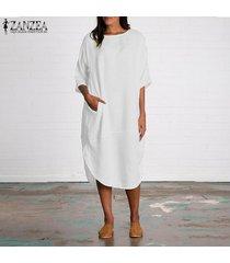 zanzea algodón de las mujeres de cuello redondo batwing camisa de vestido asimétrico midi vestido más del tamaño -blanco