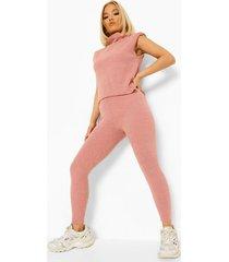 petite top met schouderpads en leggings set, rose