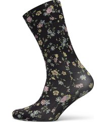 ada flower socks lingerie socks regular socks svart swedish stockings