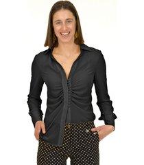 blusa pliegues italiana negro bous