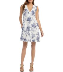 women's karen kane pleated front sleeveless linen shift dress, size x-small - blue