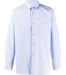 comme des garçons shirt pinstripe straight shirt - blue