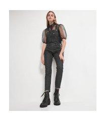 macacão longo jeans liso com bolso frontal | blue steel | preto | g