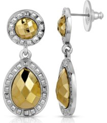 2028 silver-tone gold-tone stone double round teardrop earrings