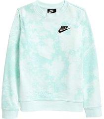 nike sportswear kids' magic club tie dye sweatshirt, size xl in barely green at nordstrom