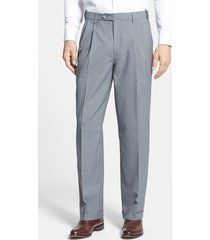 men's berle self sizer waist pleated classic fit dress pants, size 38 x - grey