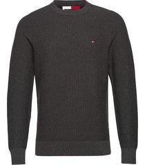 bold textured cotton sweater stickad tröja m. rund krage grå tommy hilfiger