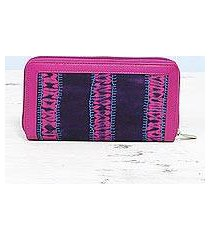 cotton and leather accent wallet, 'enchanted berry' (india)