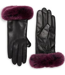 rex rabbit fur and leather gloves