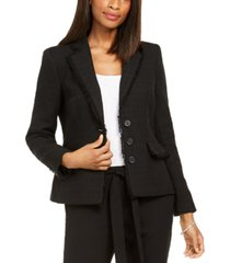 karl lagerfeld paris fringe-trimmed tweed blazer