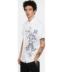 shirt motorcycle 100% cotton - white - xxl