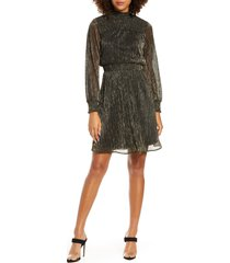 women's sam edelman metallic long sleeve smocked dress