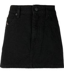 diesel button-front denim skirt - black