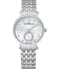 alexander watch a201b-01, ladies quartz small-second watch with stainless steel case on stainless steel bracelet