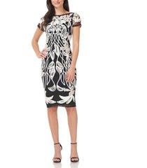 women's js collections art nouveau soutache sheath dress, size 10 - white
